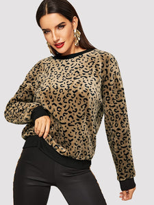 Leopard Print Teddy Pullover