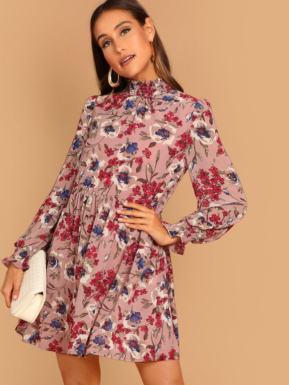Frilled Neck & Cuff Floral Print Smock Dress - Truly Yours, Fashion