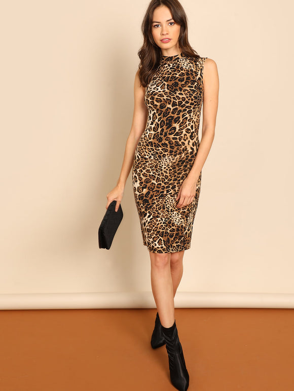 Mock-Neck Leopard Print Dress - Truly Yours, Fashion