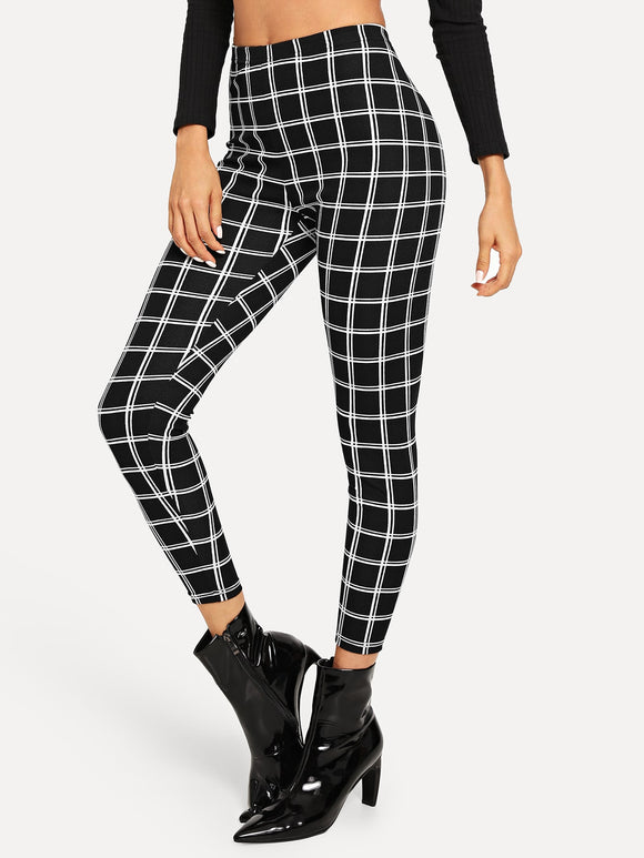 Wide Waist Plaid Leggings