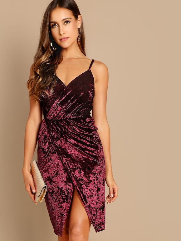 Crushed Velvet Wrap Cami Dress - Truly Yours, Fashion
