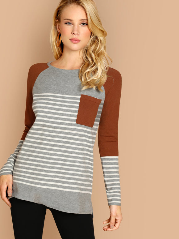 Striped Colorblock Front Pocket Pullover Sweater - Truly Yours, Fashion