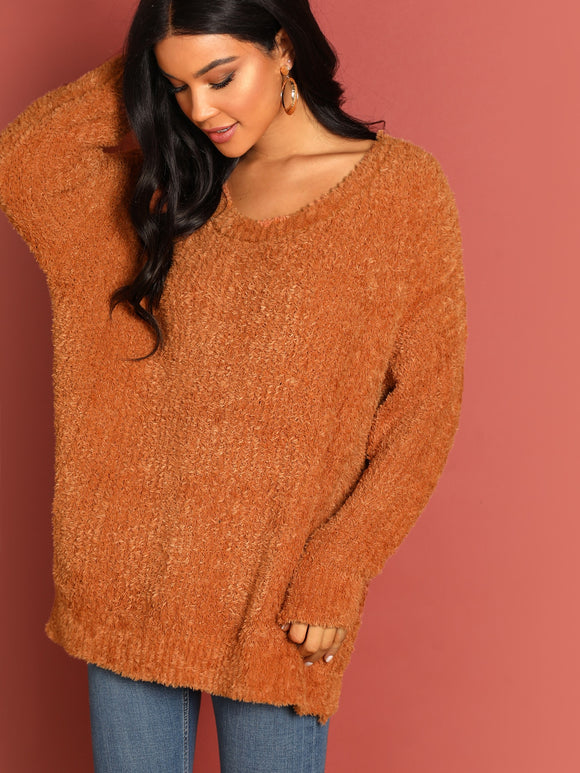 Fuzzy Knit Round Neck Pullover Sweater - Truly Yours, Fashion