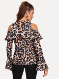 Leopard Print Flounce Sleeve Blouse - Truly Yours, Fashion