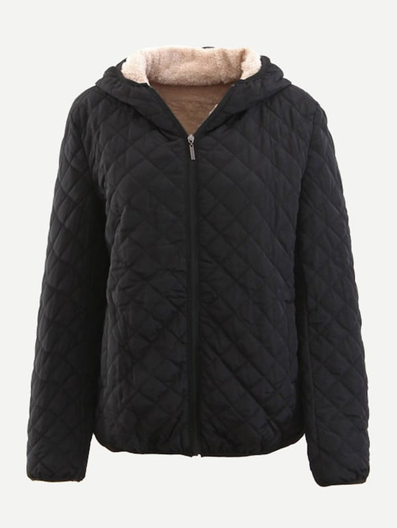 Diamond Lattice Zip-up Hooded Puffer Coat - Truly Yours, Fashion