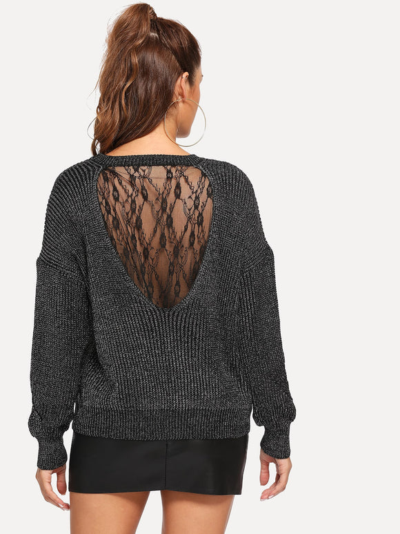 Floral Lace Insert Marled Sweater - Truly Yours, Fashion