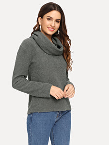 Solid High Neck Teddy Sweatshirt
