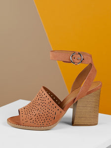 Perforated Detail Ankle Strap Stacked Heel Sandals - Truly Yours, Fashion