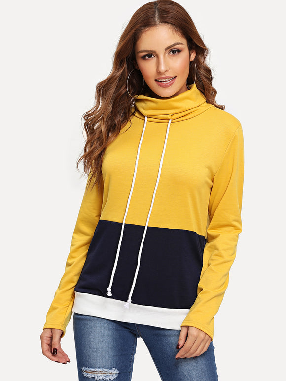 Colorblock Drawstring High Neck Sweatshirt - Truly Yours, Fashion