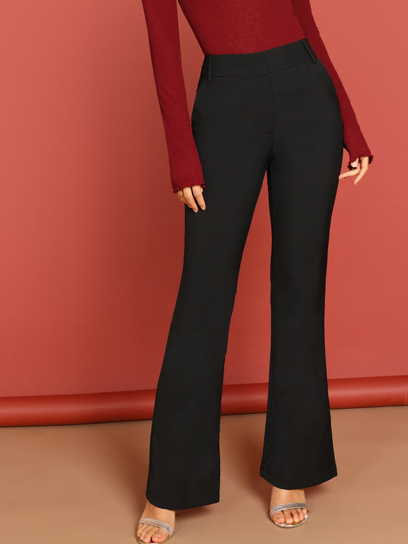 Slant Pocket Flare Leg Solid Pants - Truly Yours, Fashion
