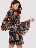 Bell Sleeve Floral Lace Dress - Truly Yours, Fashion