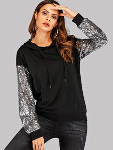 Contrast Sequin Drawstring Hoodie - Truly Yours, Fashion