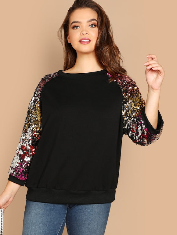 Plus Sequin Raglan Sleeve Sweatshirt