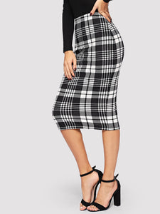 Form Fitted Glen Plaid Pencil Skirt - Truly Yours, Fashion