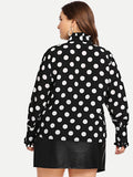 Plus Tie Neck Polka Dot Blouse - Truly Yours, Fashion