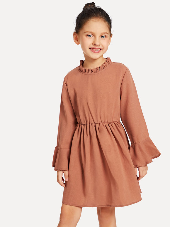 Trumpet Sleeve Frill Neck Dress - Truly Yours, Fashion