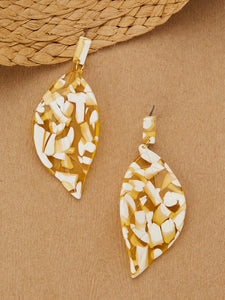Two Toned Acrylic Leaf Dangle Stud Back Earrings - Truly Yours, Fashion