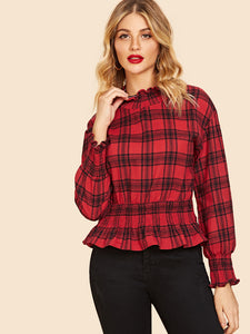 Mock-Neck Smock 90s Plaid Top - Truly Yours, Fashion