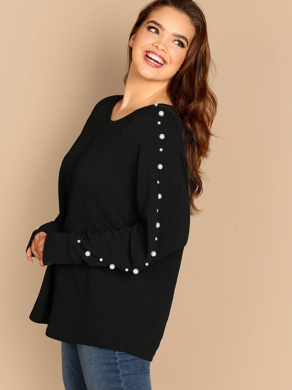 Plus Pearls Beaded Sleeve Textured Top