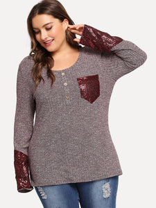 Plus Contrast Sequin Pocket Patched Heather Tee