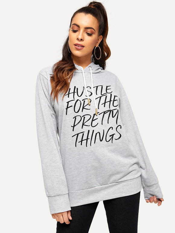Letter Print Drawstring Hoodie - Truly Yours, Fashion