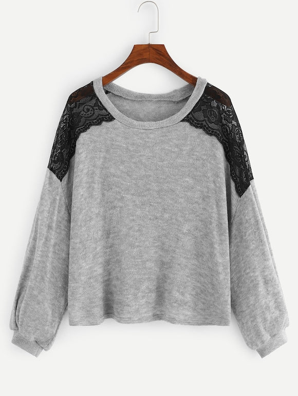 Contrast Mesh Drop Shoulder Sweater - Truly Yours, Fashion