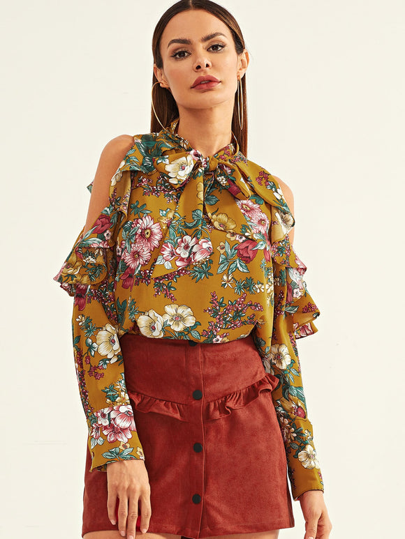 Open Shoulder Flounce Trim Floral Top - Truly Yours, Fashion