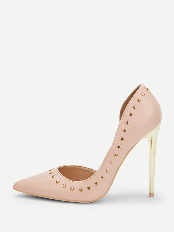 Rivet Detail Stiletto Heels - Truly Yours, Fashion