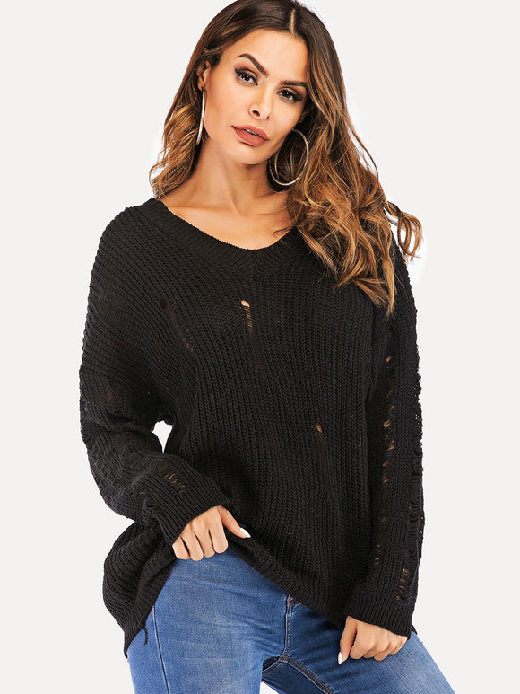 Drop Shoulder Ripped Jumper - Truly Yours, Fashion