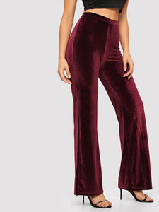 Elastic Waist Solid Velvet Pants - Truly Yours, Fashion