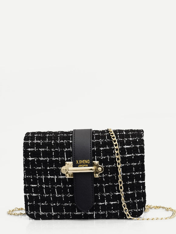Tweed Chain Crossbody Bag - Truly Yours, Fashion