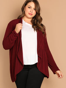 Plus Open Placket Solid Coat - Truly Yours, Fashion