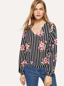 Lantern Sleeve Mixed Print Top - Truly Yours, Fashion
