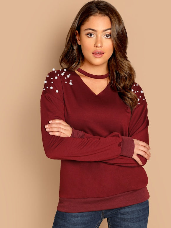 Pearls Beaded Choker Neck Top - Truly Yours, Fashion