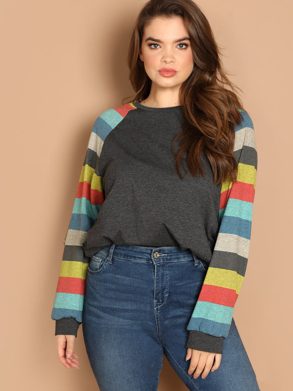 Plus Colorblock Raglan Sleeve Tee