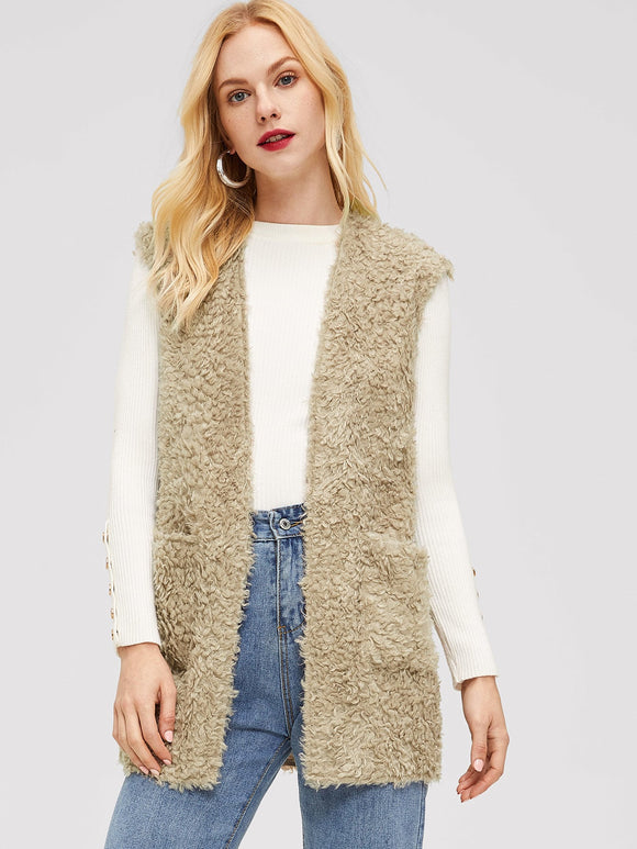 Pocket Front Sleeveless Teddy Coat