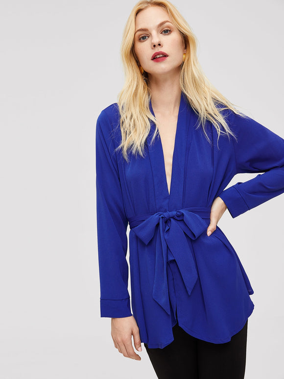 Waist Belted Wrap Solid Top - Truly Yours, Fashion