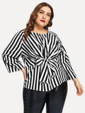 Plus Vertical-Stripe Knot Hem Blouse