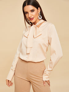 80s Tied Neck Buttoned Shirt - Truly Yours, Fashion