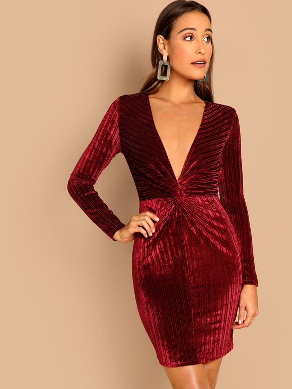 Plunging Neck Twist Front Velvet Bodycon Dress - Truly Yours, Fashion