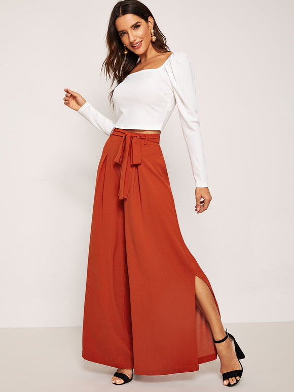 Tie Waist Pleated Split Palazzo Pants