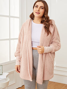 Plus Solid Plush Hooded Robe - Truly Yours, Fashion