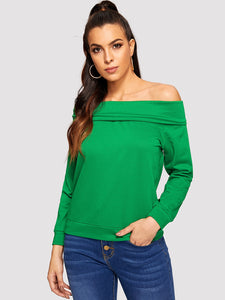 Fold Over Off Shoulder Sweatshirt - Truly Yours, Fashion