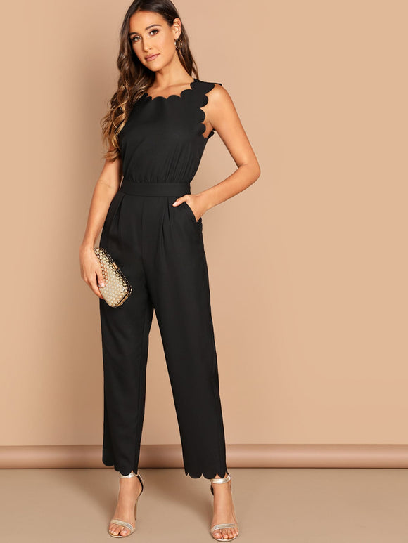 Scallop Edge Solid Jumpsuit