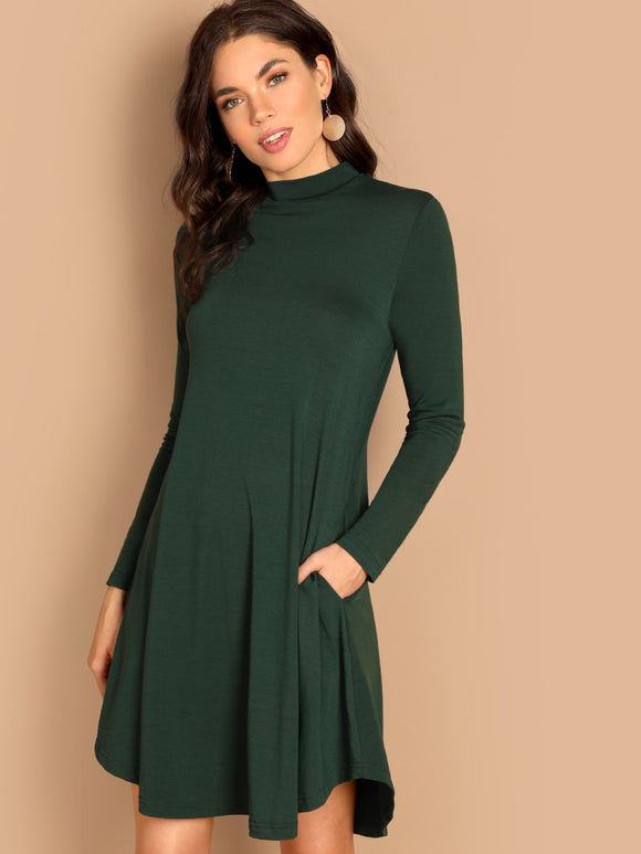 Mock Neck Pocket Side Swing Dress - Truly Yours, Fashion