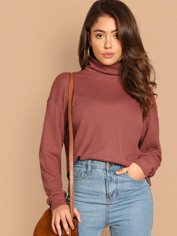 High Neck Solid Tunic Pullover - Truly Yours, Fashion