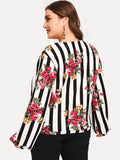 Plus Floral and Striped Sweatshirt - Truly Yours, Fashion