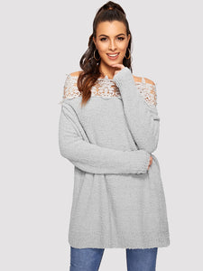 Floral Lace Insert Bardot Sweater - Truly Yours, Fashion