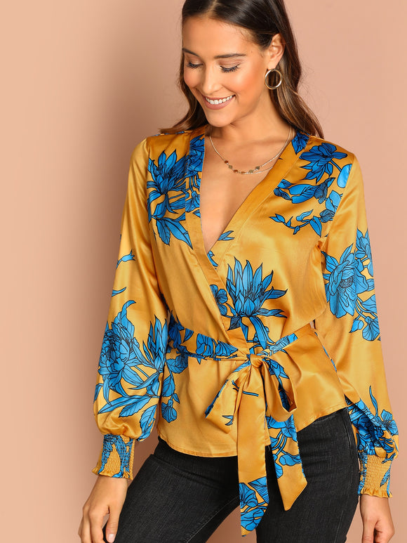 Wrap Front Waist Tie Satin Floral Blouse - Truly Yours, Fashion