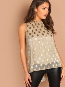 Metallic Polka Dot Pleated Neck Sleeveless Top - Truly Yours, Fashion